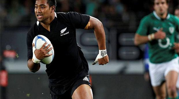 All Blacks' Julian Savea runs in to score a try during their test match against Ireland at Eden Park in Auckland. Photo: Reuters