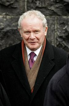 Sinn Fein MP for Mid Ulster Martin McGuinness who is to resign forcing a by-election in the constituency as part of a party shake up ending its dual mandate for Westminster, he said today