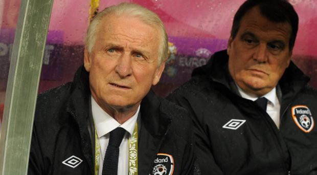 10 June 2012; Republic of Ireland manager Giovanni Trapattoni, left, and assistant manager Marco Tardelli before the start of the game. EURO2012, Group C, Republic of Ireland v Croatia, Municipal Stadium Poznan, Poznan, Poland. Picture credit: David Maher / SPORTSFILE