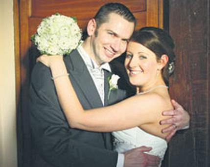 Emma Dooley, who died yesterday, with her husband Greg on their wedding day.