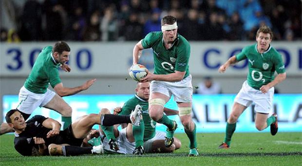 Donnacha Ryan, Ireland, makes a break during the game. Steinlager Series 2012, 1st Test, New Zealand v Ireland, Eden Park, Auckland, New Zealand. Photo: Sportsfile