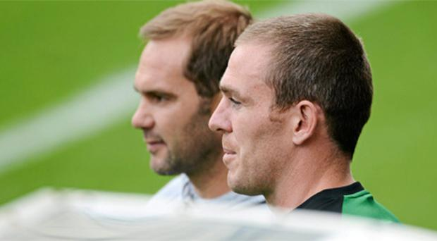 Richard Dunne pictured at squad training today with former Irish international Jason McAteer