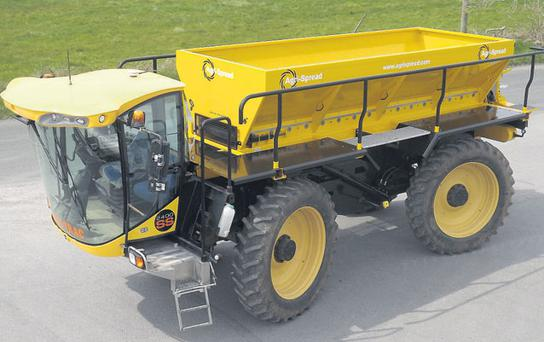 EXPORT: Pictured is the British built Lite-Trac tractor unit equipped with demountable Agri-Spread disc spreading unit