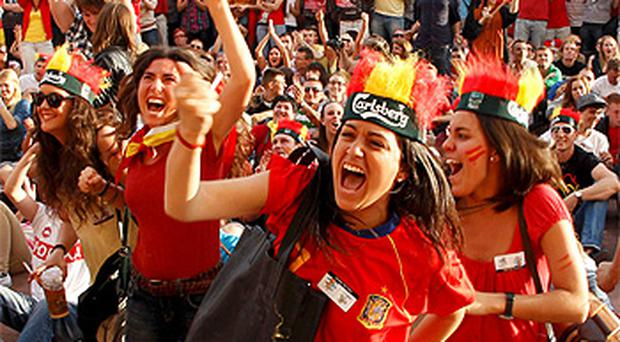 Spanish supporters at the fan zone in Gdansk