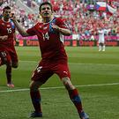 Vaclav Pilar celebrates after scoring Czech Republic's second goal