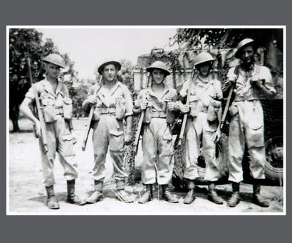 Gunner Paddy Reid [2nd from Left] pictured in Burma, while serving with the Anti Tank Regiment in the British Army. Gunner Reid recieved a Pardon from the Irish Government yesterday , after Gunner Reid deserted the Irish Army to serve with the British Army during World War 2.
