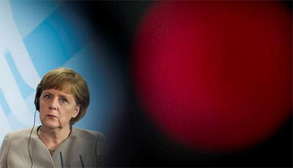 German Chancellor Angela Merkel attends a news conference after talks with Peru's President Ollanta Humala (not pictured) at the Chancellery in Berlin. Photo: Reuters