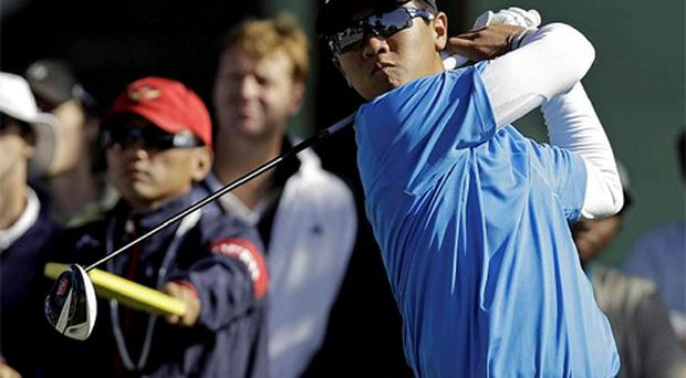 Andy Zhang hits a drive on the 16th hole during a practice round for the U.S. Open Championship golf tournament in San Francisco. Photo: AP