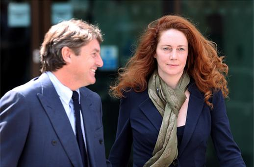 Rebekah Brooks and her husband Charlie Brooks leave Westminster Magistrates Court. Photo: Getty Images