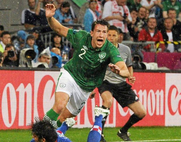 10 June 2012; Sean St. Ledger, Republic of Ireland, turns to celebrate after scoring his side's equalising goal after 19 minutes. EURO2012, Group C, Republic of Ireland v Croatia, Municipal Stadium Poznan, Poznan, Poland. Picture credit: David Maher / SPORTSFILE