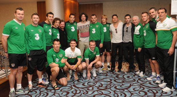 13 June 2012; Members of the Republic of Ireland with the band Snow Patrol ahead of the Republic of Ireland's EURO2012 game against Spain on Thursday. Sheraton Sopot Hotel, Gdynia, Poland. Picture credit: David Maher / SPORTSFILE
