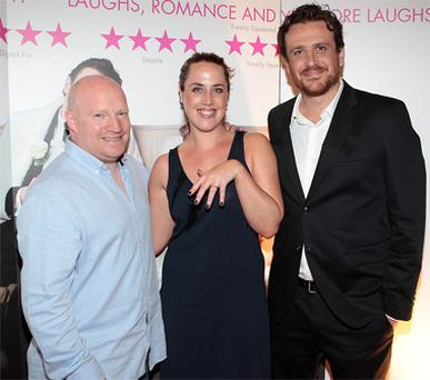 Actor Jason Segal (right) with Stephen Lawlor who surprised his girlfriend Erin Evansfrom Swords when he proposed to her in front of 200 guests at the Irish Premiere screening of the Five Year Engagement.