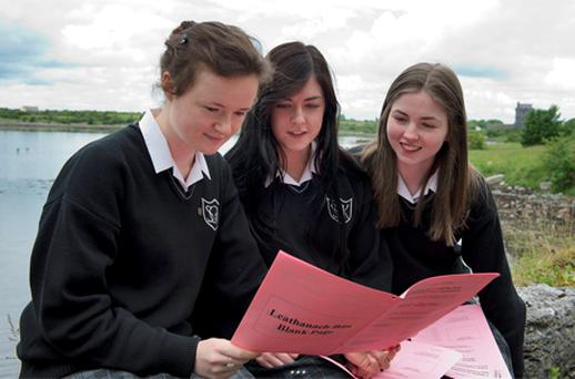 Leaving cert students Beatrice Bowers, Rachel Feeney and Rosemary Walsh at Seamount College in Kinvara, Co Galway yesterday