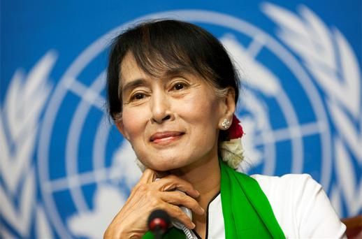 Myanmar's pro-democracy leader Aung San Suu Kyi attends a news conference at the United Nations European headquarters in Geneva. Photo: Reuters
