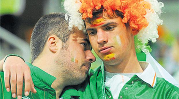 Dejected fans at the Ireland-Spain match in Gdansk last night