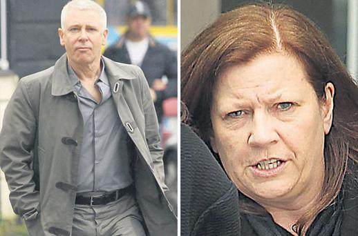 U2 star Adam Clayton arriving at court yesterday (left) and Carol Hawkins (right)