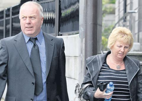 Fireman Eugene Carey and his wife Bernie leaving the court after yesterday's hearing