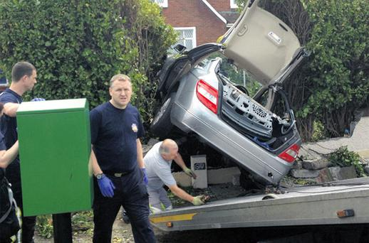 The car being removed from the crash scene in Rathfarnham, Co Dublin