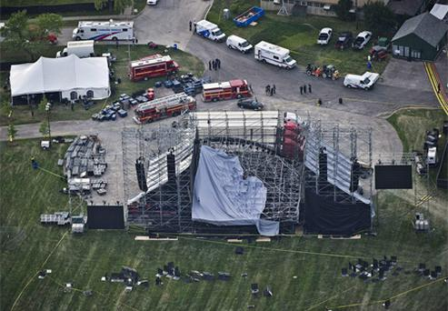 The top of a stage being set up for a concert by band Radiohead collapsed, killing one of the stage workers preparing for the event. Photo: AP