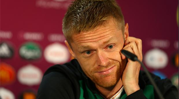 Damien Duff looked typically uncomfortable in front of the cameras yesterday