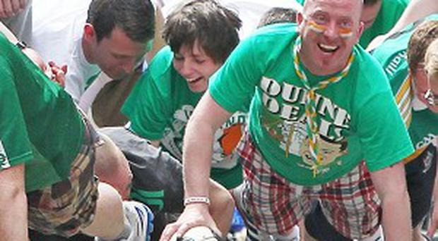 Irish football fans are drafted in as extras for the filming of the movie Hardy Bucks