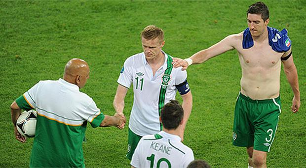 Captain for the night Damien Duff leaves the pitch after Ireland's defeat to Italy