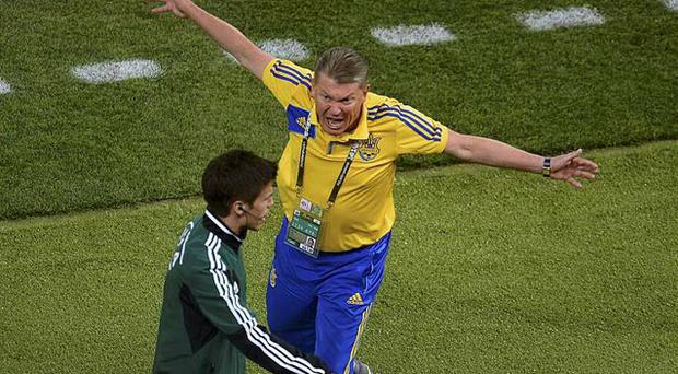 Ukraine's coach Oleg Blokhin gestures towards a match official after England's John Terry (not pictured) cleared the ball from the goal mouth. Photo: Reuters