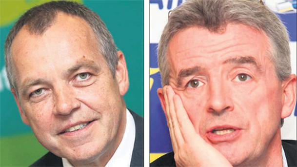 Aer Lingus CEO Christoph Mueller, left, and Ryanair's Michael O'Leary