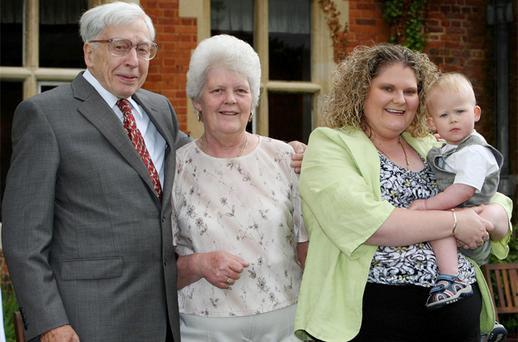 (Left to right) IVF pioneer Professor Robert Edwards, Lesley Brown, with her daughter Louise Brown, 30, from Bristol, the world's first IVF baby, with her son Cameron at the 30th anniversary celebration held at the Bourn Hall Clinic, Bourn, Cambridgeshire. Lesley, the woman who gave birth to the world's first test tube baby has died. Photo: PA