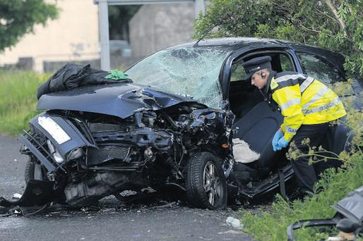 The scene of yesterday's crash just outside Tuam, Co Galway