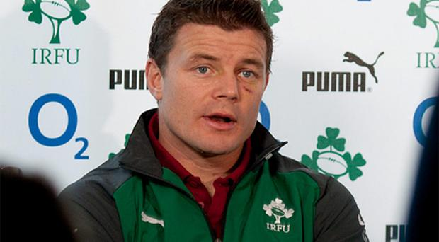 Captain Brian O'Driscoll looks on during the Ireland rugby team announcement at the Crowne Plaza Hotel. Photo: Getty Images