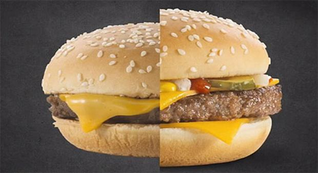 McDonald's have published a video showing how a normal buger, left, is transformed by an advertising agency into something more appealing
