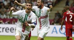 Portugal's Cristiano Ronaldo celebrates after scoring the winning goal during the Euro 2012 soccer championship quarterfinal match against the Czech Republic. Photo: AP