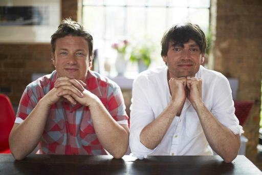 Undated handout photo of Alex James and Jamie Oliver promoting their involvement in The Big Feastival event taking place in September. PRESS ASSOCIATION Photo. Issue date: Thursday June 21, 2012. The Featival is being staged at James's farm in Kingham, Oxfordshire, on September 1 and 2. See PA story SHOWBIZ Oliver. Photo credit should read: PA/PA Wire NOTE TO EDITORS: This handout photo may only be used in for editorial reporting purposes for the contemporaneous illustration of events, things or the people in the image or facts mentioned in the caption. Reuse of the picture may require further permission from the copyright holder.