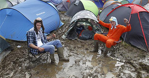 In the mud at the campsite at the Isle of Wight
