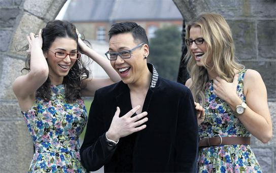Georgia poses with Gok Wan and Vogue Williams at a photocall for Specsavers.
