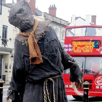 A Scarecrow in Cardiff city centre to promote the Doctor Who Experience in Cardiff Bay