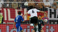 Germany's Sami Khedira (6) scores a goal during the Euro 2012 quarter-final soccer match against Greece. Photo: Reuters