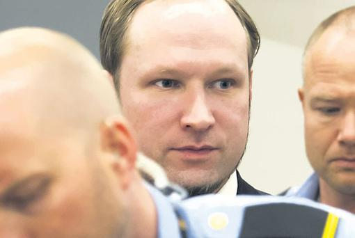 Anders Behring Breivik in an Oslo court yesterday, the last day of evidence in his trial for the murder of 77 people.