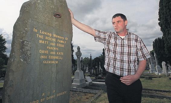Daniel Doherty at the grave of Matt and Eddie Roche in Abbeyfeale on Wednesday