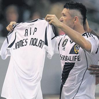 Robbie Keane's tribute to the young football fan in an LA Galaxy match