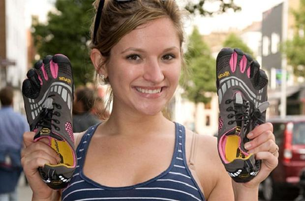 Lauren Goda with Vibram FiveFingers shoes
