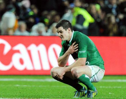 23 June 2012; A dejected Jonathan Sexton, Ireland, after the game. Steinlager Series 2012, 3rd Test, New Zealand v Ireland, Waikato Stadium, Hamilton, New Zealand. Picture credit: Ross Setford / SPORTSFILE
