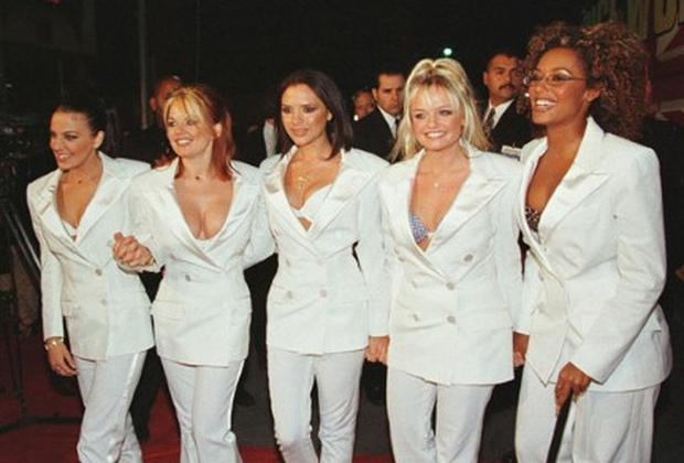 It was just boybands who wore coordinating suits in those days, keen to readdress the 'Girl Power' balance, the Spice Girls donned all white - but flashed their padded bras in the process, of course.