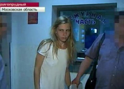 Galina Ryabkova, 30, was arrested shortly after the incident, which took place on Sunday at the Moscow tower block in which she and her family lived