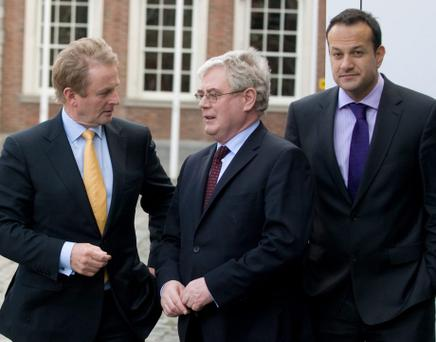 Taoiseach, Enda Kenny, T.D. with Michael Ring, T.D., left, Minister for State at the Dept of Transport, Tourism and Sport, Tanaiste, Eamon gilmore, and Leo Varadkar, T.D, Minister for Transport, Tourism and Sport at the launch of the Gathering Ireland 2013, the biggest tourism event ever held in Ireland. Picture credit; Damien Eagers 11/5/12