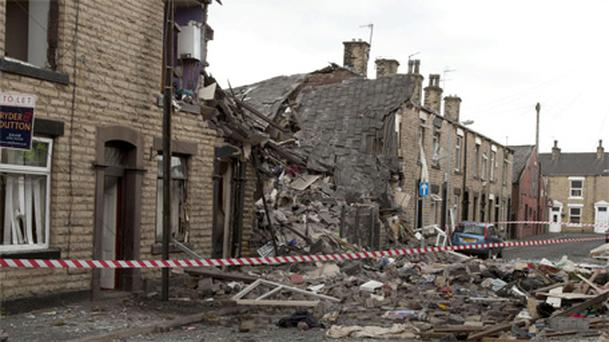 The near-demolished house at the scene of the suspected gas explosion in Oldham