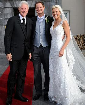 Newlyweds Kelly and Patrick Howard with former US President Bill Clinton at the Castlemartyr Resort in east Cork