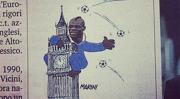 Drawing attention: a cartoon image appearing in the Italian sports newspaper La Gazzetta dello Sport depicts Italian striker Mario Balotelli as King Kong