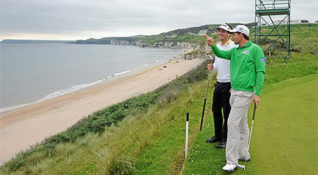 Reigning US PGA champion Keegan Bradley, left, and Padraig Harrington on the fifth green during their practice round of the 2012 Irish Open at Royal Portrush yesterday